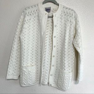 Vintage Grandma Wool Crochet Knit Cardigan Sweater